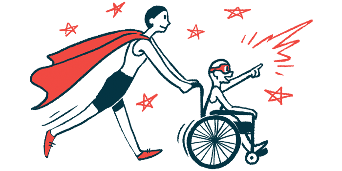 rare disease clinical trial participants | Angioedema News | Illustration of woman in cape pushing child in wheelchair