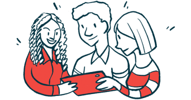 HAEi | Angioedema News | Patient advocacy | Illustration of three people using a tablet
