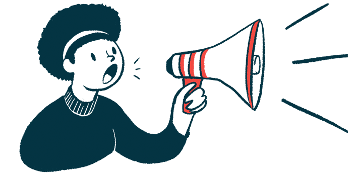 NTLA-2002 study launching in New Zealand/Angioedema News/woman with megaphone announcement illustration